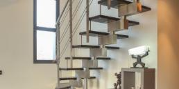 Escalier contemporain inox bois